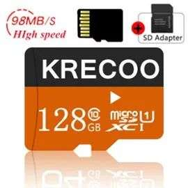 Carte microSDXC Krecoo U1 - 128 Go + Adaptateur SD + 0.80€ en Super Points