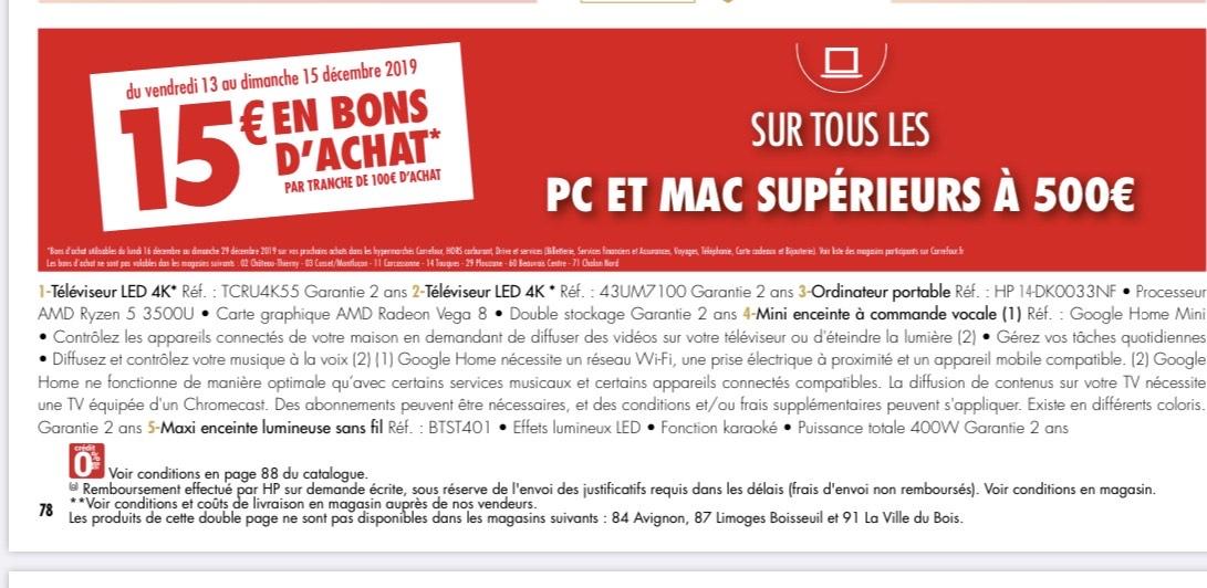 15€ remboursés en bons d'achat par tranche de 100€ sur PC & Mac dès 500€ d'achat