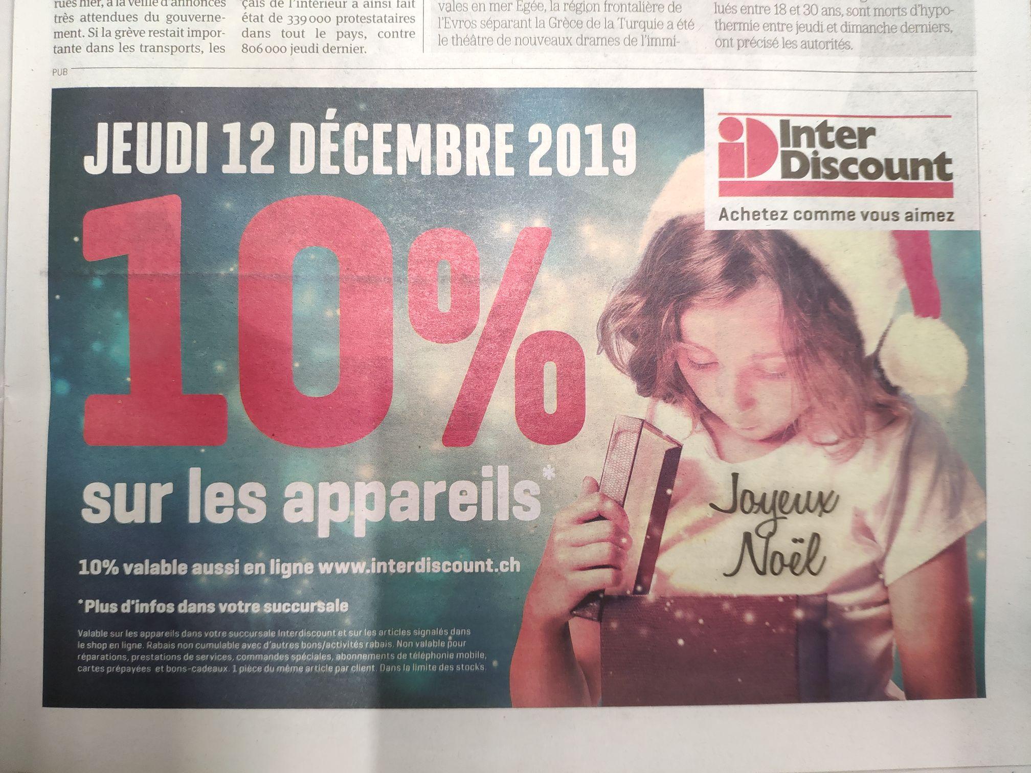 10% de réduction sur tout les appareils (Frontaliers Suisse)