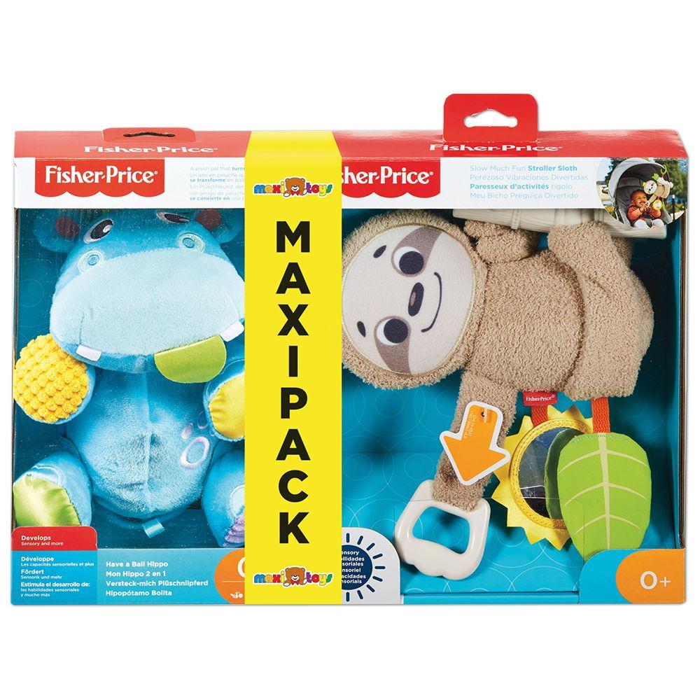 Maxi Pack Peluches Fisher-Price Mon Hippo 2 en 1 + Mon Paresseux d'activités