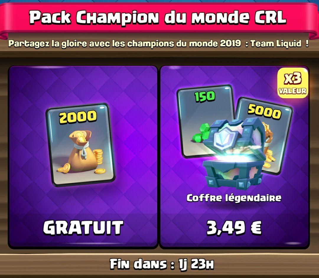 Items 2000 Pièces d'Or offertes sur Clash Royale (dématérialisés)