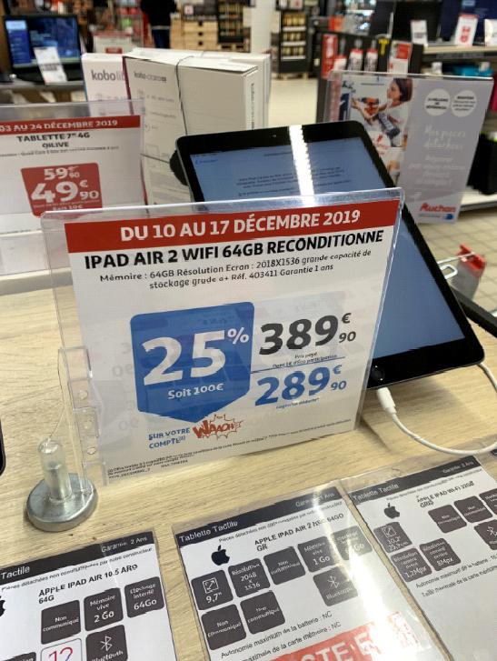"""Tablette tactile 9.7"""" Apple iPad Air 2 (64 Go, Wi-Fi) - reconditionné (via 100€ sur la carte de fidélité) - Amiens (80)"""