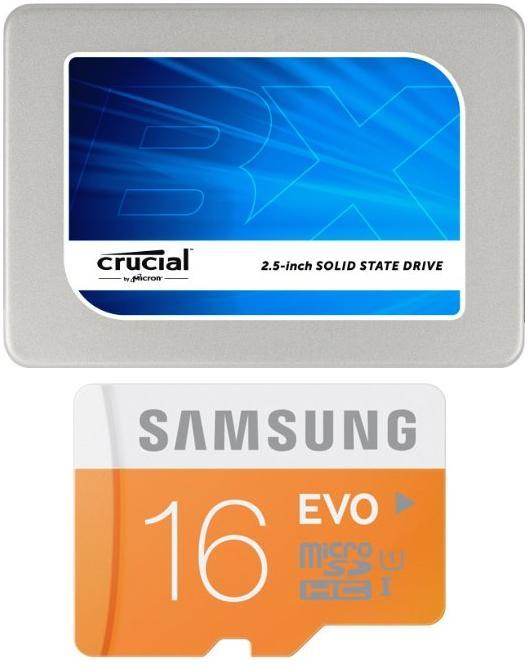 "SSD interne 2.5"" Crucial BX200 240 Go + Carte microSDHC Samsung Evo 16 Go"