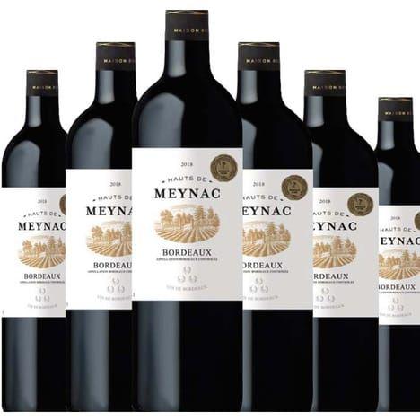 Lot de 6 bouteilles Château Haut de Meynac Bordeaux AOP 2018 Rouge - 75cl