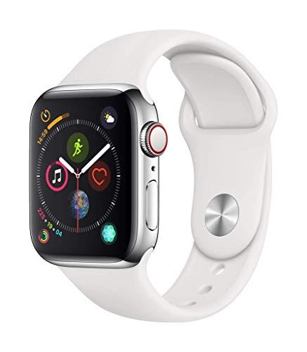 Montre Connectée Apple Watch Series 4 (GPS + Cellular) Boîtier en Acier Inoxydable de 40 mm avec Bracelet Sport Blanc