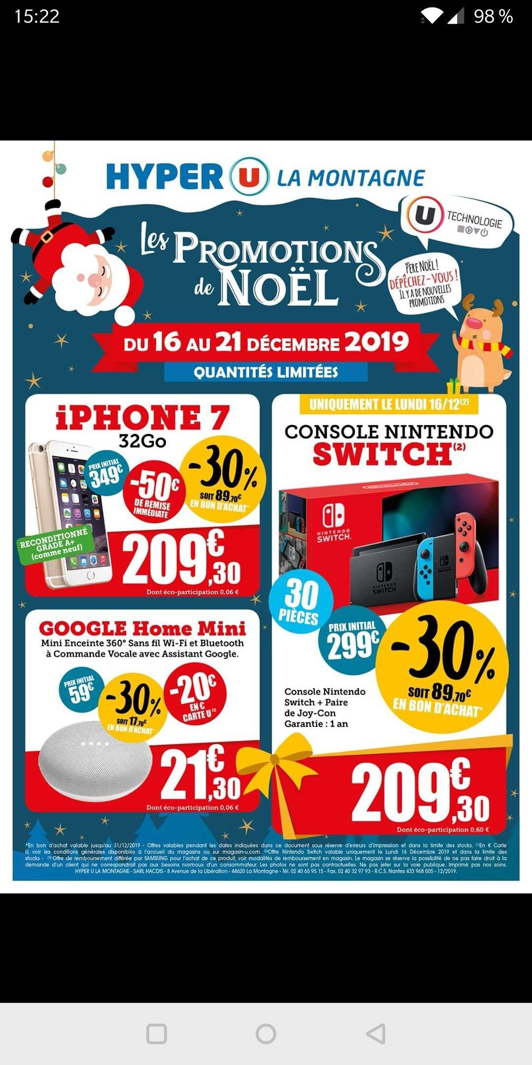 Sélection d'articles en promotion - Ex: Console Nintendo Switch (via 89.7€ en bon d'achat) - La Montagne (44)