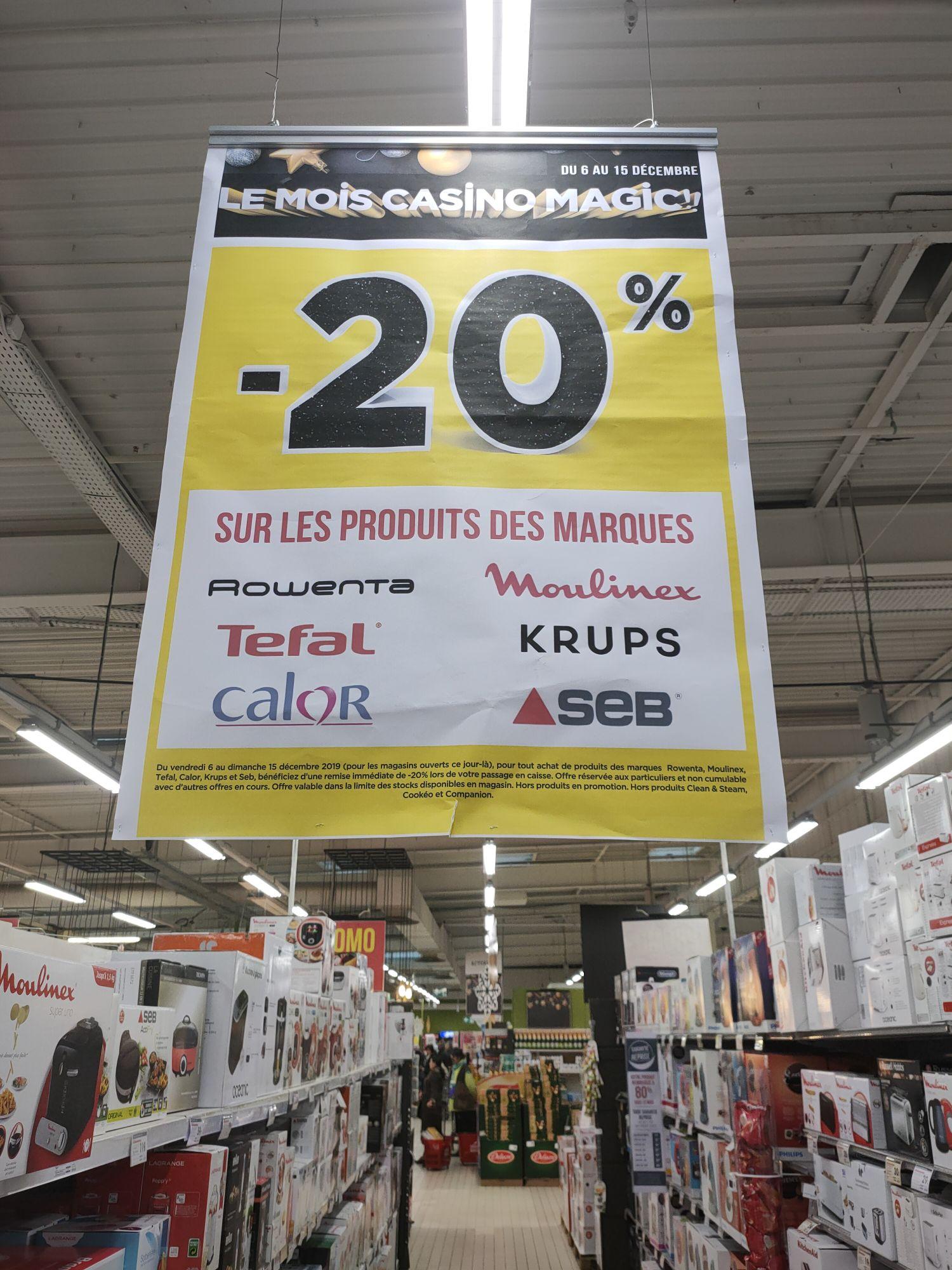 20% de réduction sur une sélection de produits de marques Calors, Krups, Moulinex, Rowenta, Seb ou Tefal (+ 10% via Casino Max Extra)