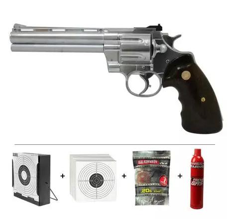 Réplique Pistolet Revolver Zastava R357 Gaz Chrome (11544) + Cible Métal + 10 Cibles Carton + 5000 Billes 0.20 g + Bouteille de Gaz 600 ml