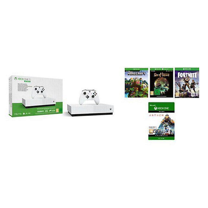 Pack Console Xbox One S All Digital + 4 jeux dématérialisés : Minecraft, Sea of Thieves, Anthem et Fortnite