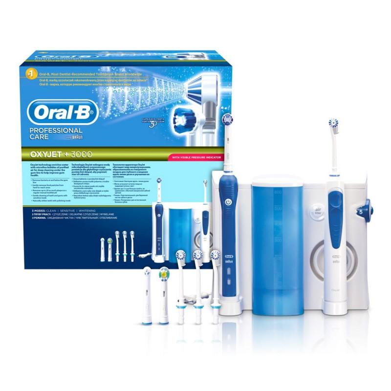 Oral-B Combiné Dentaire : Brosse à dents électrique Oral-B Professional Care 3000 + Hydropulseur Oxyjet