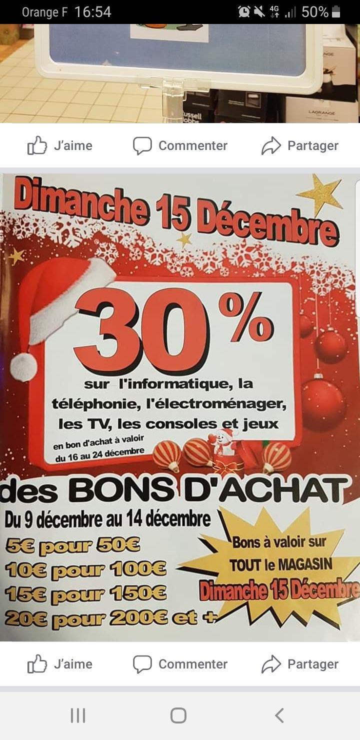 50% remboursés en bon d'achat sur les rayons Consoles, Électroménager, Informatique, Jeux, Téléphonie & TV - Saint-Père-sur-Loire (45)