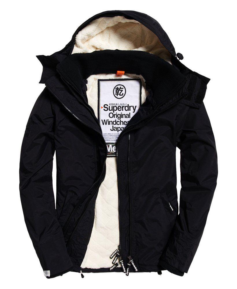 Veste à capuche en fourrure Superdry Sherpa SD-Windcheater pour Homme - Taille S