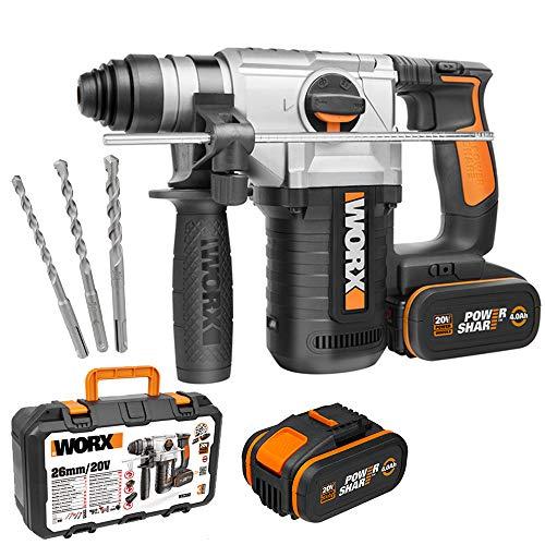 Outil Marteau Multifonction 4-en-1 Worx wx392 + 2 Batteries + 3 Mandrins + Coffret