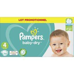 Lot de 2 packs de 100 couches Pampers Baby Dry (Taille 4)