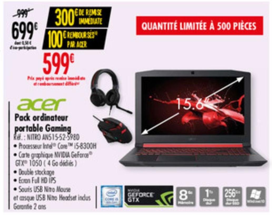 "PC Portable Gaming 15.6"" Acer Nitro 5 - i5-8300H, GTX1050 4Go, 8Go RAM, 1To HDD 256GO SSD (Via 100€ d'ODR et 90€ en bons d'achat)"