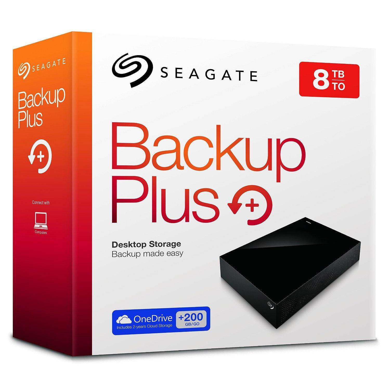 "Disque dur externe 3,5"" Seagate Backup Plus 8 To USB 3.0 + 2 ans OneDrive Cloud 200 Go"