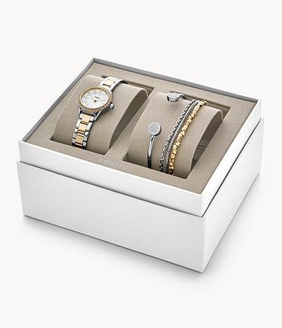 Coffret cadeau avec montre Blythe à trois aiguilles en acier inoxydable bicolore & bijoux