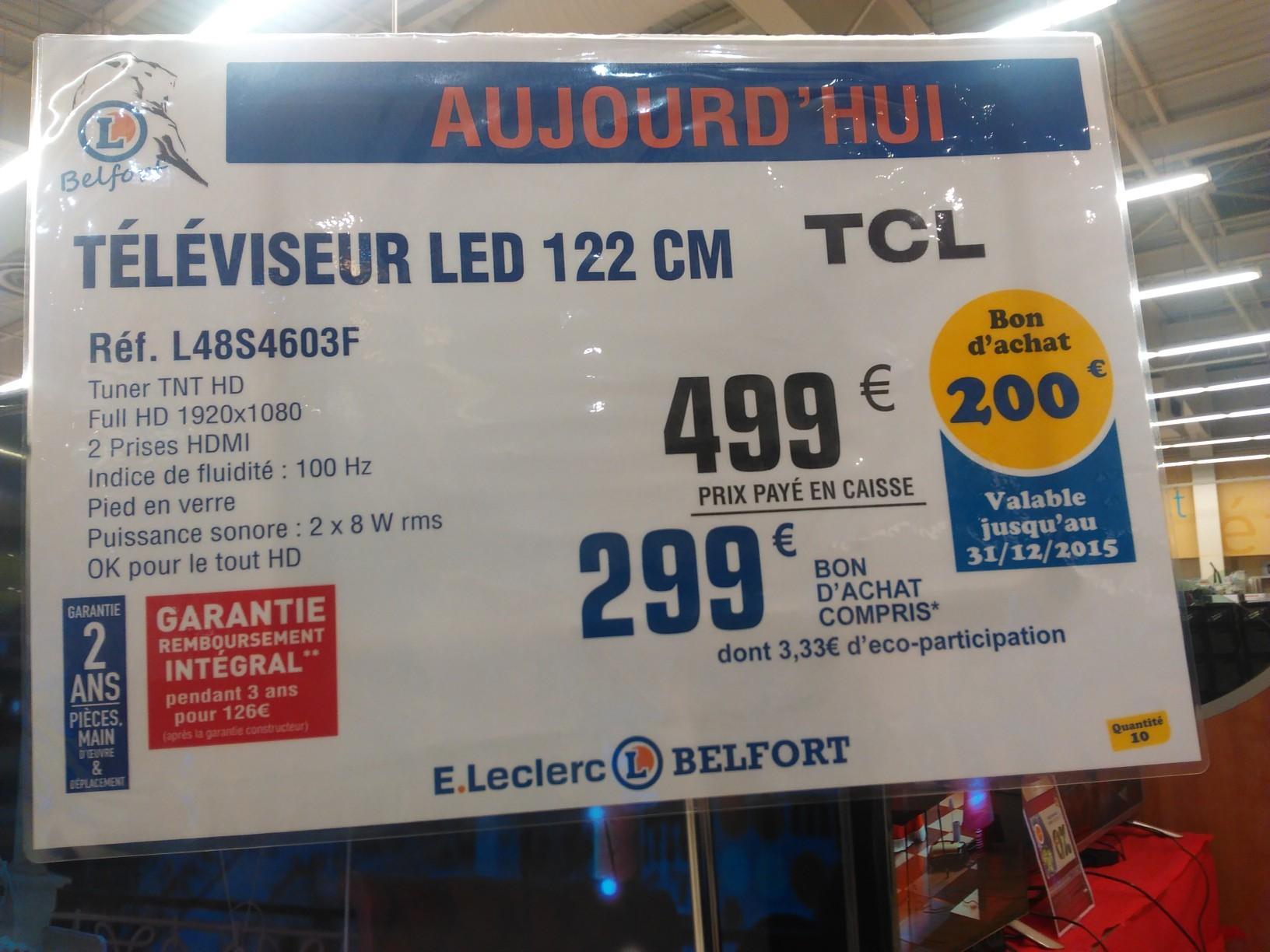 "TV 48"" TCL L48S4603F Full HD LED 121 cm (avec 200€ offerts en bon d'achat)"