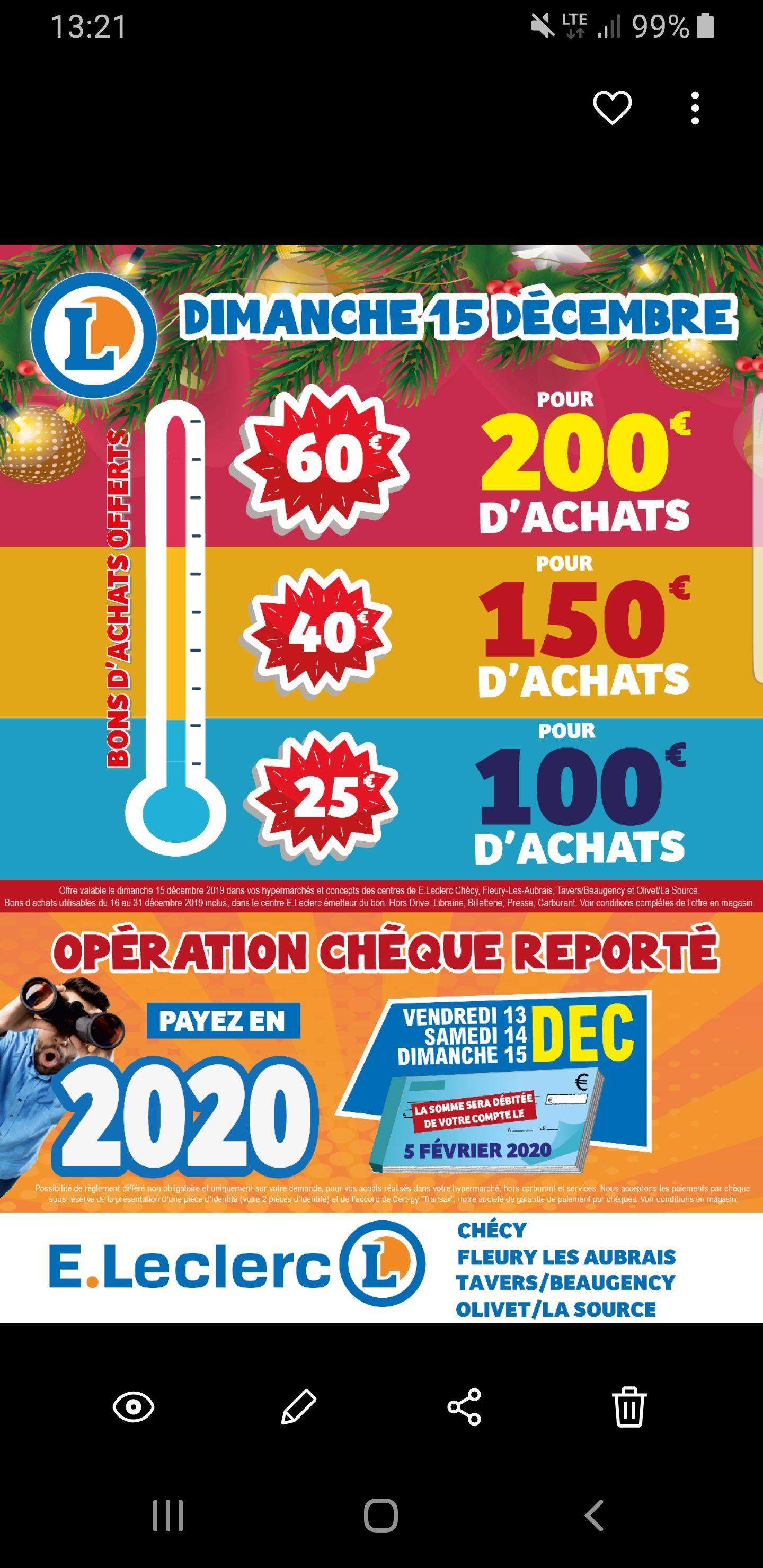 Jusqu'à 60€ offerts en bon d'achat - Ex : 40€ dès 150€ d'achat (Chécy / Fleury-les-Aubrais / Beaugency / Olivet La Source 45)
