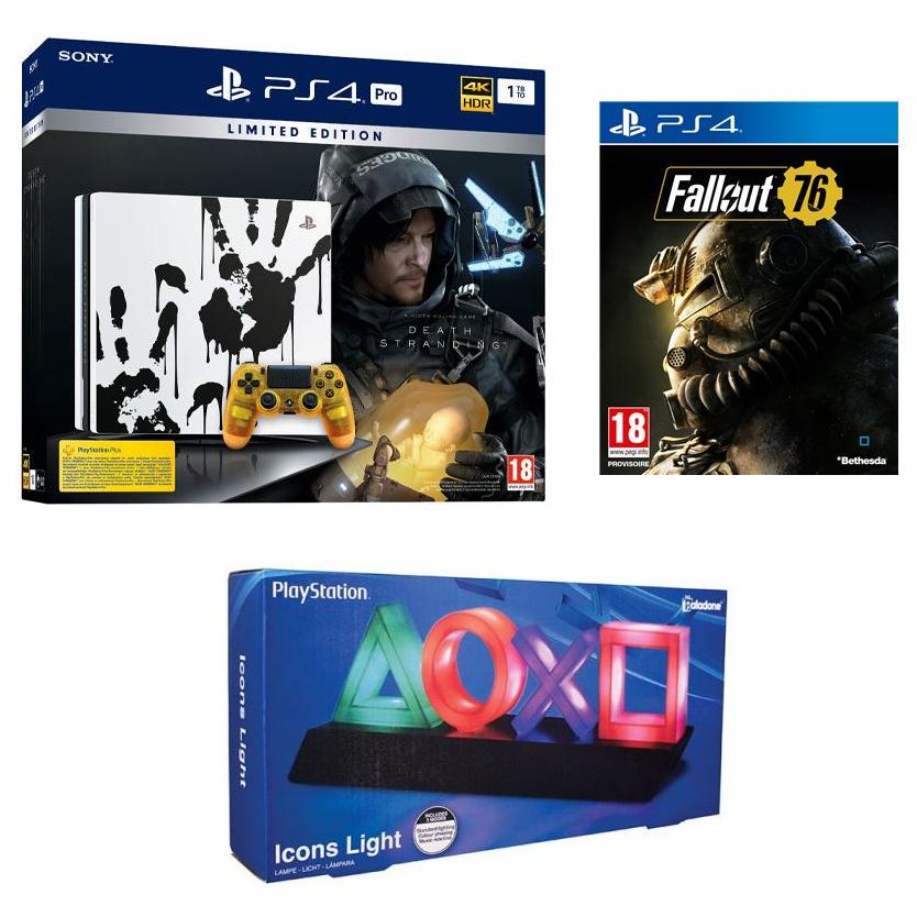 Pack Console Sony PS4 Pro 1To Édition Limitée Death Stranding (Jeu inclus) + Lampe USB Symboles PlayStation Paladone + Fallout 76