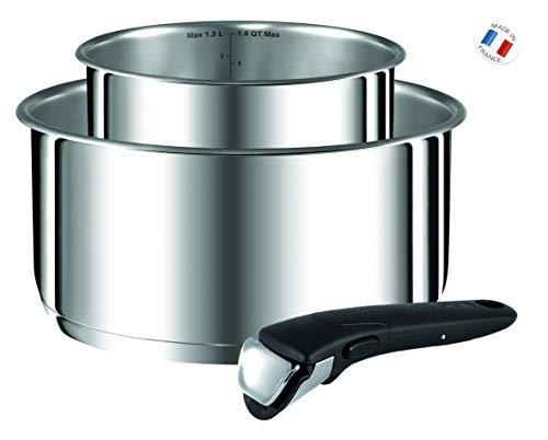 Set de 2 Casseroles Tefal Ingenio Preference en inox Tefal L9408802 - 16/20cm + Poignée Amovible (Tous Feux dont Induction)