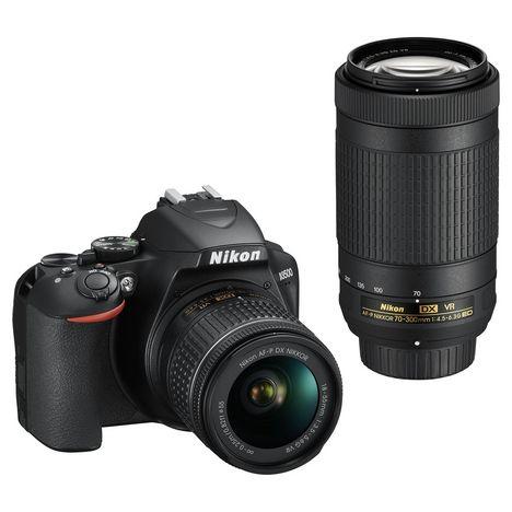 Kit Appareil photo reflex Nikon D3500 + objectif AF-P DX 18-55VR + objectif AF-P DX 70-300VR (Via 100€ sur la carte waahoo)
