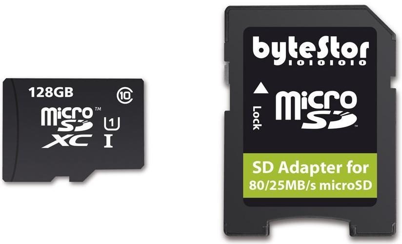 Carte micro SD ByteStor Pro 128 Go - Class 10 - avec adaptateur