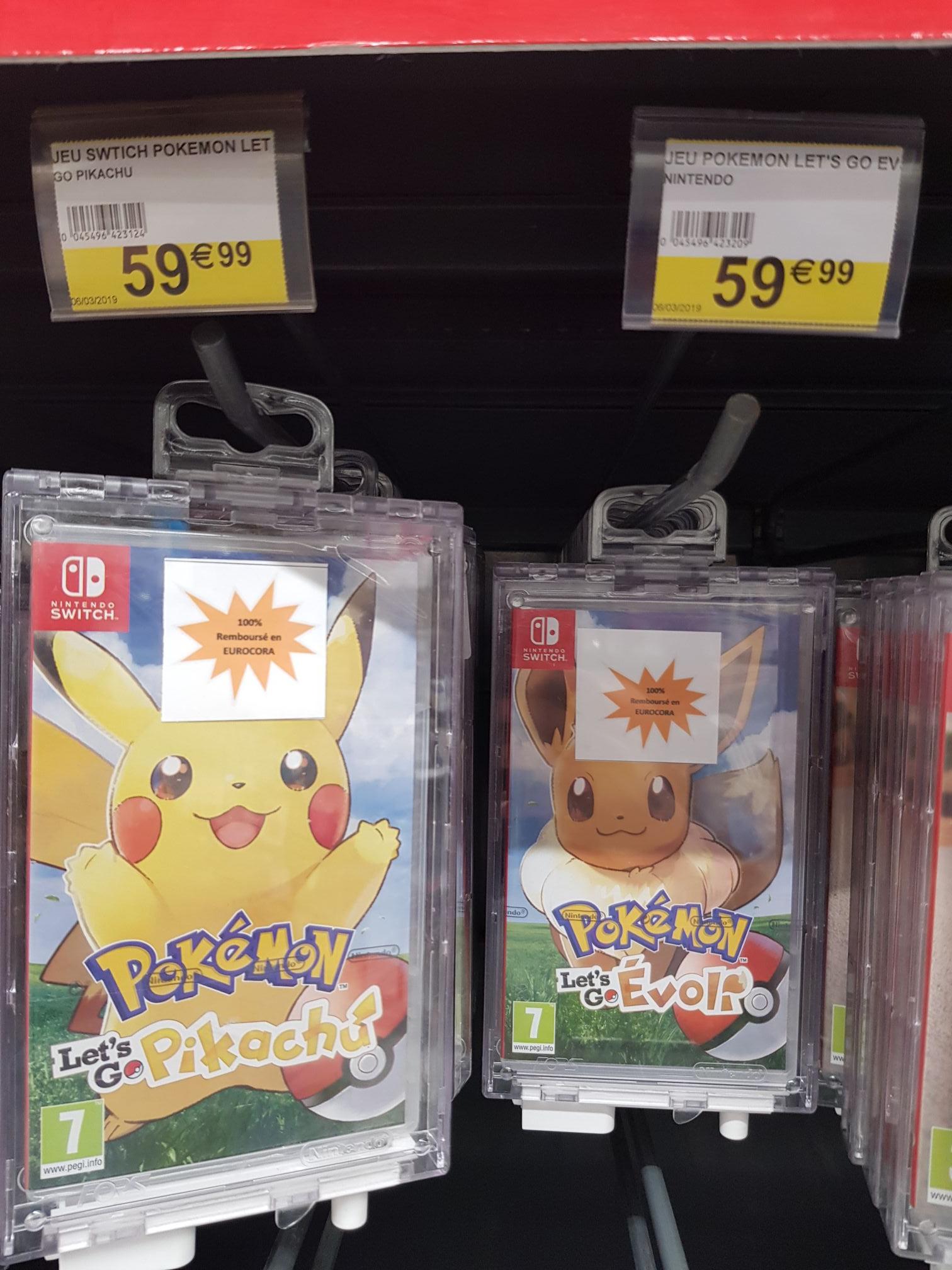 Pokémon: Let's Go - Evoli ou Pikachu sur Switch (via 59.99€ en €uroCora) - Massy (91)