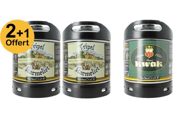 Pack de 2 Fûts de bière Tripel Karmeliet 6L + 1 Fût de Kwak 6L - 5€ avec CODE