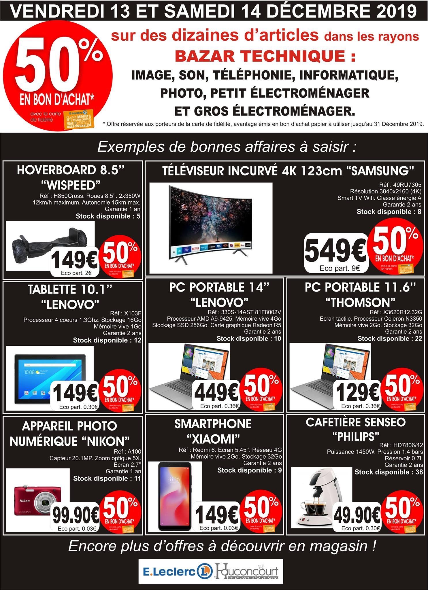 """50% remboursés en bon d'achat sur une sélection d'articles - Ex : TV Incurvée 49"""" Samsung UE49RU7305 - Hauconcourt (57)"""