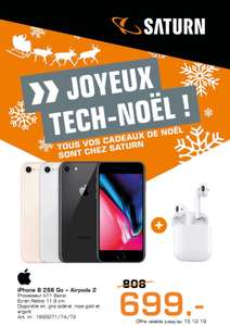 """Smartphone 4.7"""" Apple iPhone 8 (256 Go) + Écouteurs Sans Fil Apple Airpods 2 (Frontaliers Luxembourg)"""