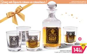 Service a whisky - 1 Carafe 1 L + 4 verres shooters 25 cl