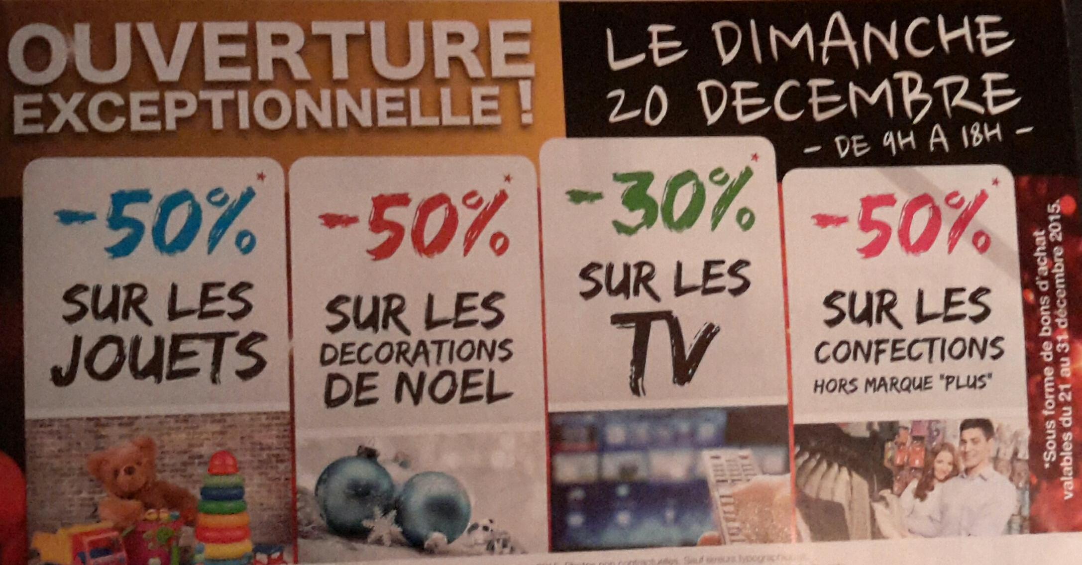 30% offerts en bons d'achat sur les TV et 50% sur les jouets