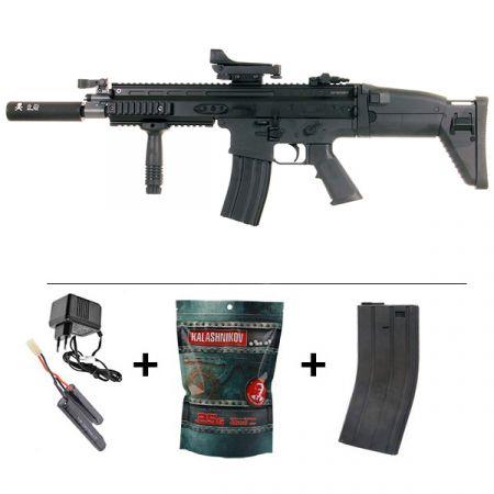 Réplique Fusil Airsoft FN Herstal SCAR-L AEG Sportline Noir 200961 + Red Dot + Silencieux + Poignée Angulaire + Sachet 4000 Billes 0.25g