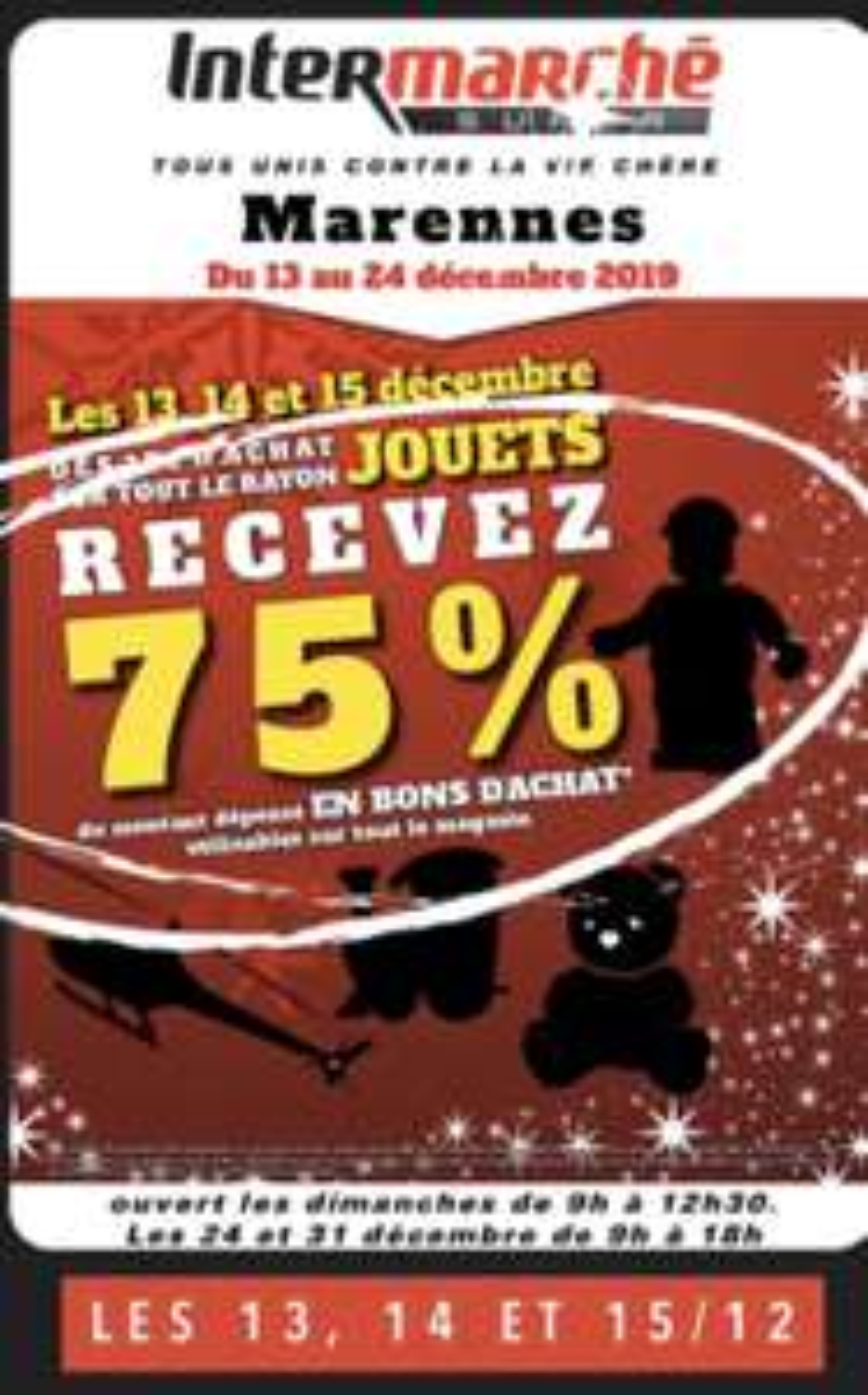 75% remboursés en bon d'achat dès 35€ d'achat sur le rayon Jouets - Marennes (17)