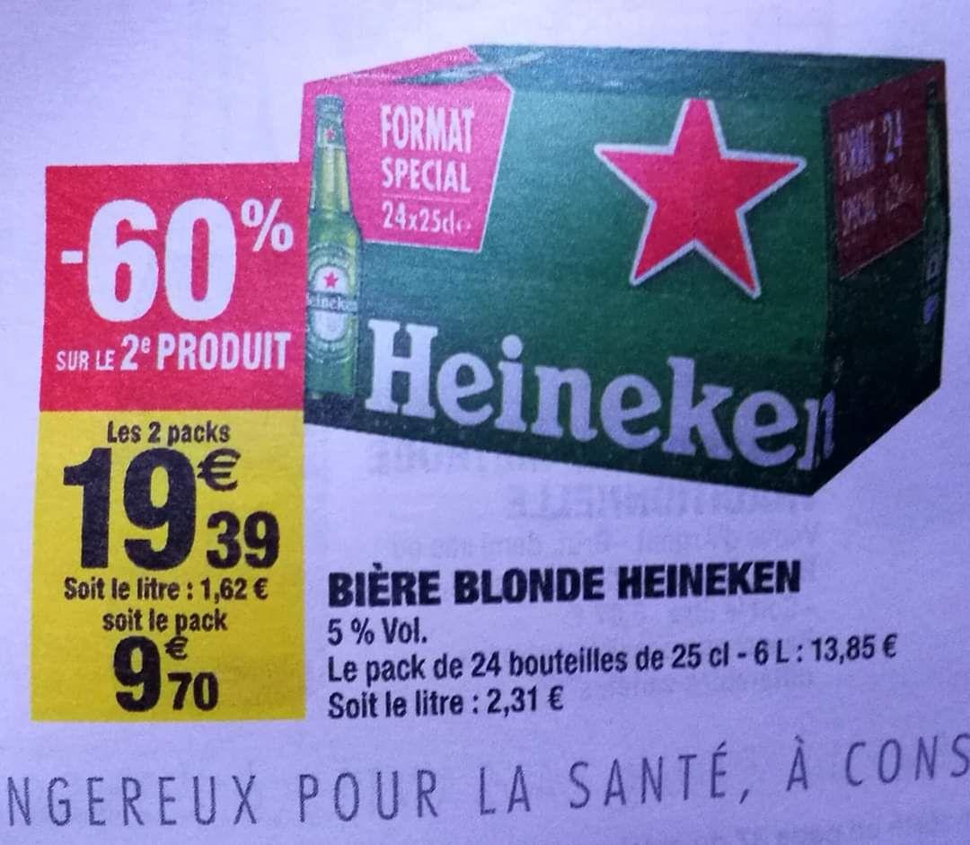 2 packs de bières blonde Heineken - 24x25cl