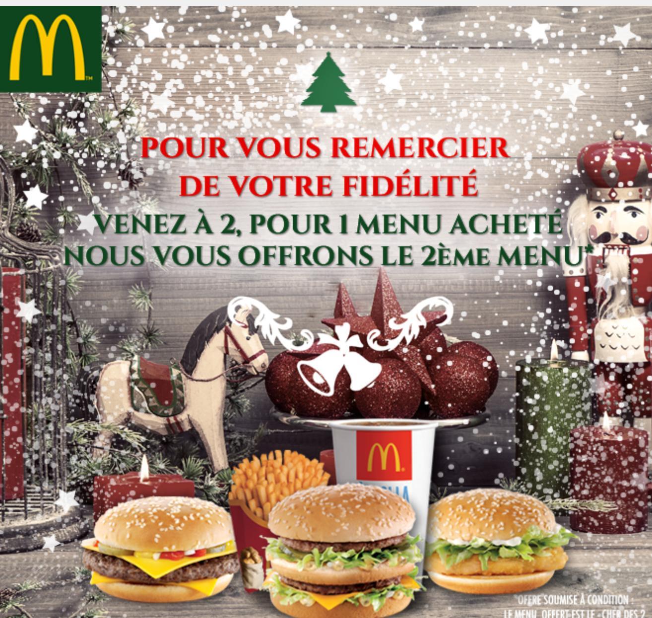 1 menu acheté = 1 menu offert dans votre McDonald's Charenton le Pont