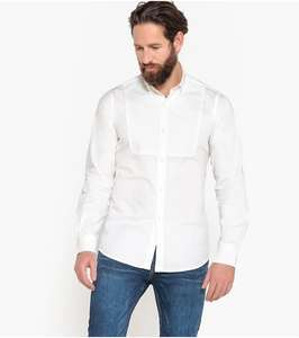 Chemise slim à manches longues La Redoute Collections pour Homme - Blanc