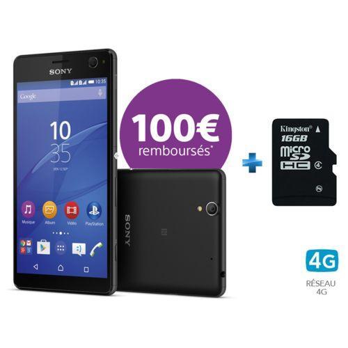 """Smartphone 5.5"""" Sony Xperia C4 DS Noir + Carte Mémoire microSDHC Kingston Classe 4 16 Go + Adaptateur SD (via ODR de 100€)"""