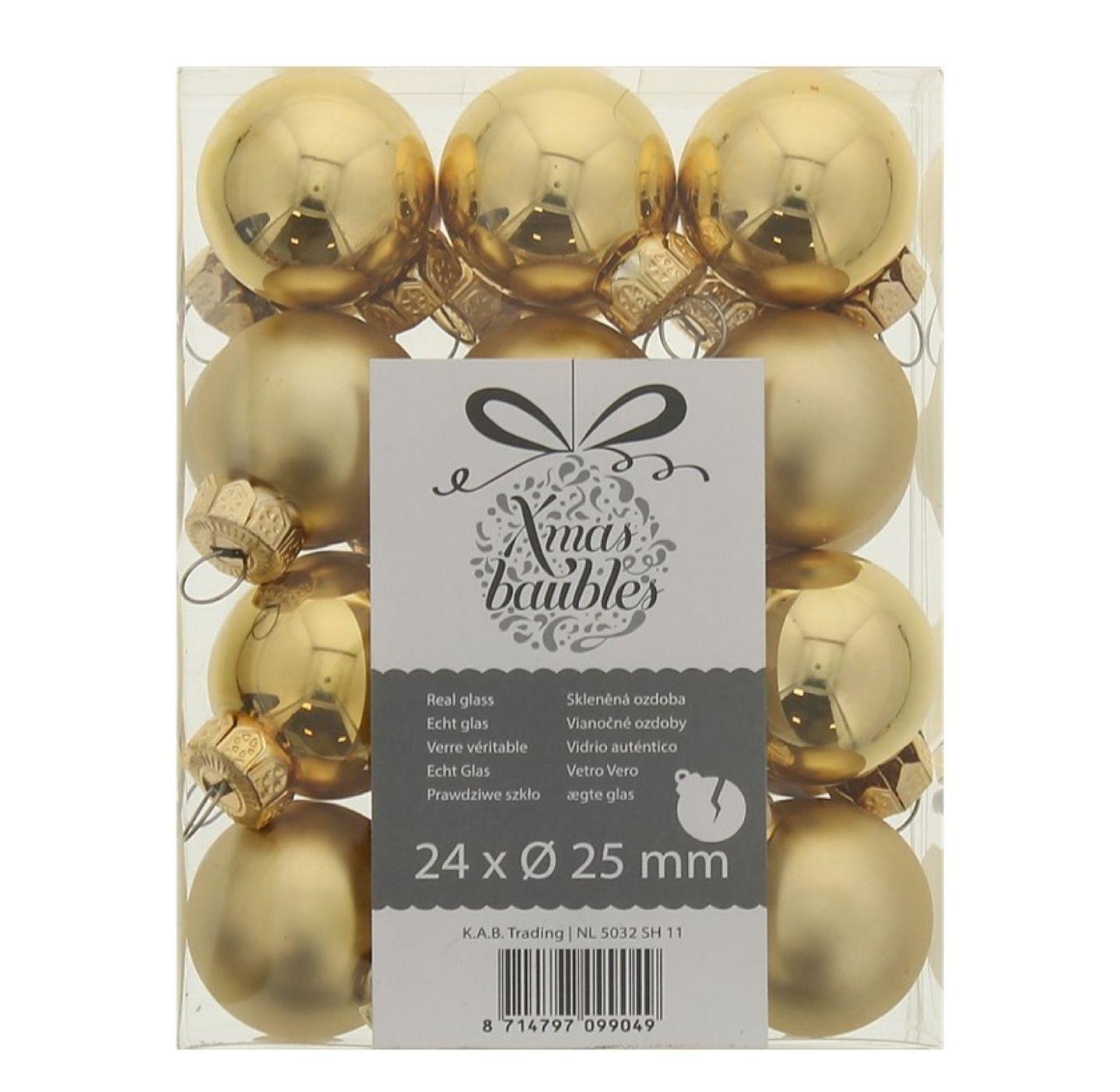Boules de noël - or/rouge/nacre, 24 pièces