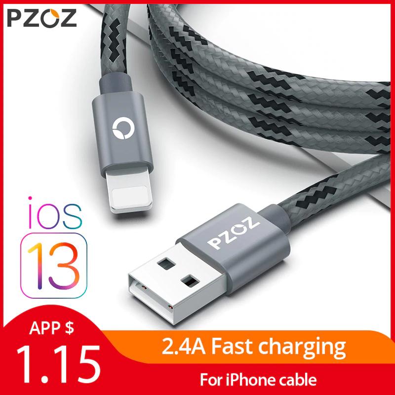 [Nouveaux clients] Câble USB tressé Lightning Pzoz - 2 m, différents coloris