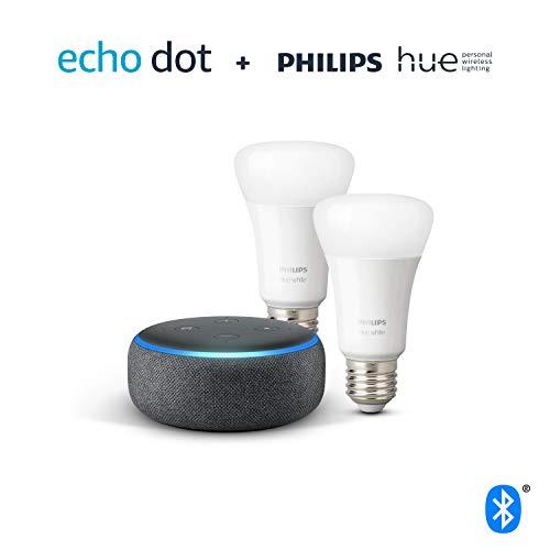 Pack Echo Dot (3ème génération), Tissu anthracite + Pack de 2 ampoules Philips Hue White LED connectées (E27)