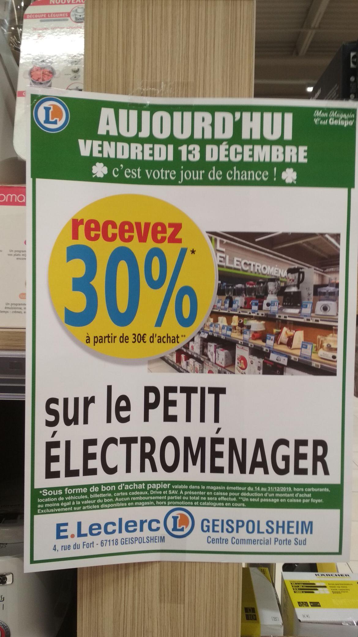 30% remboursés en bons d'achat dès 30€ d'achat sur le petit électroménager - Geispolsheim (67)