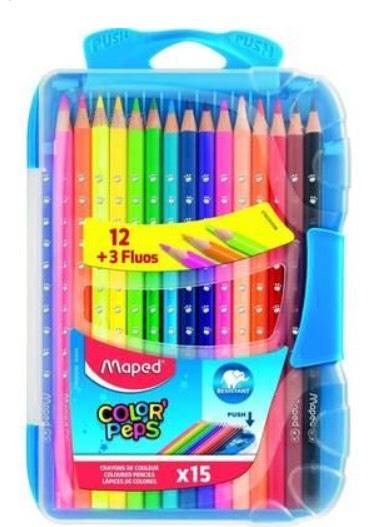 Crayons de couleurs en bois Maped Color'Peps - 15 crayons