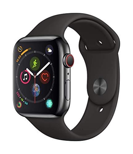 Montre connectée Apple Watch Series 4 (GPS + Cellular) Boîtier en Acier Inoxydable Noir Sidéral de 44 mm avec Bracelet Sport Noir