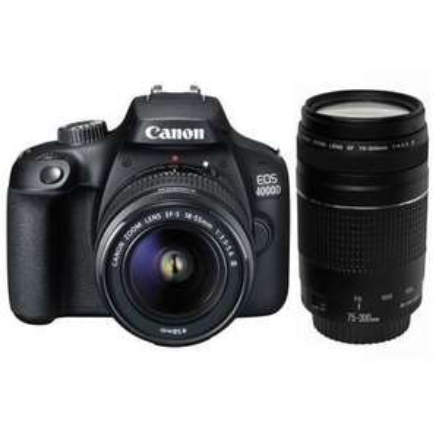 Appareil photo Reflex Canon EOS 4000D + 2 Objectifs (EF-S 18-55 III + EF 75-300 F/4-5,6 III)