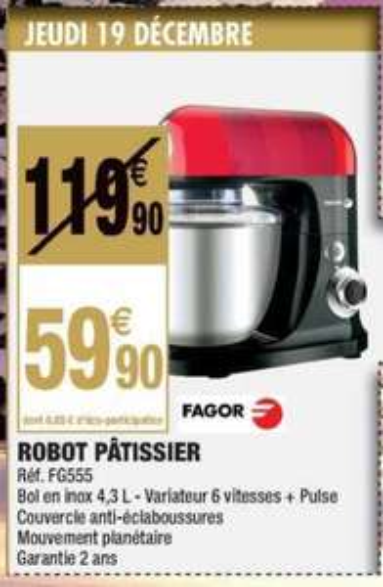 Robot pâtissier Fagor FG555 - 750W, 4.3L