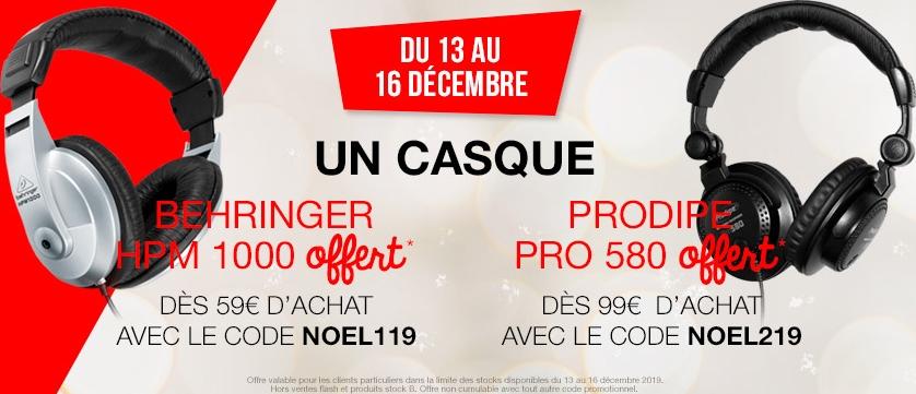 Casque audio Behringer HPM 100 offert dès 59€ d'achat ou casque audio ProDipe Pro 580 offert dès 99€ d'achat