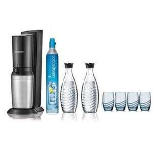 Pack Machine à gazéifier Sodastream Crystal + 2 Carafes en verre + 4 verres sérigraphiés (via ODR de 20€)