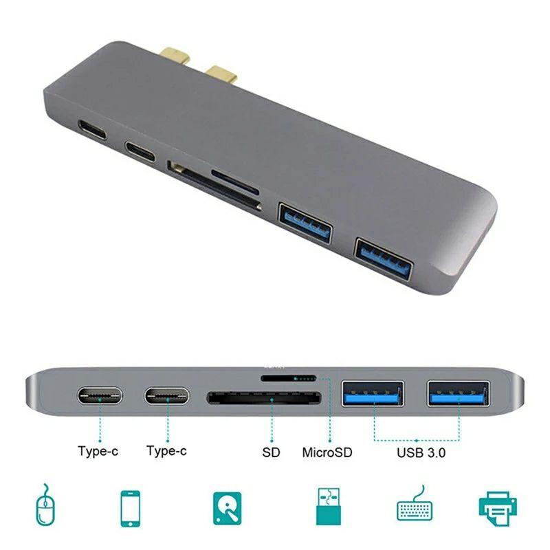 HUB USB C 6 en 1 pour Apple MacBook Pro